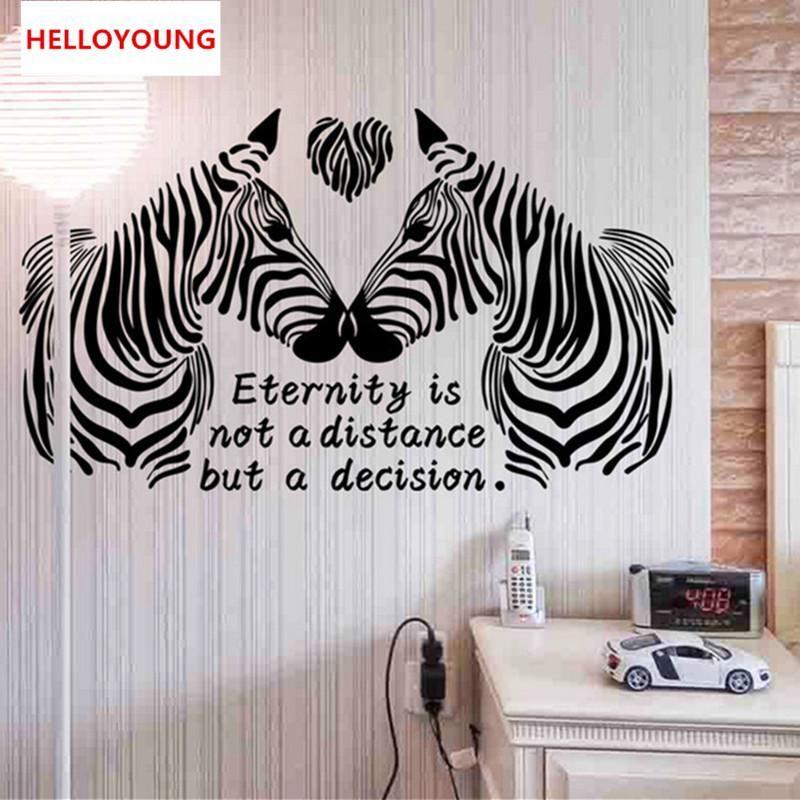 DIY Wall Sticker Cartoon Love Zebra Wallpapers All-match Style Art Mural Waterproof Bedroom Wall Stickers Home Decor
