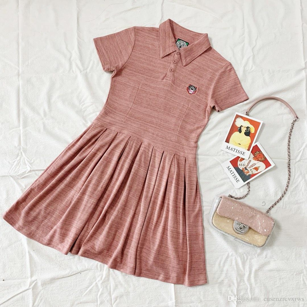 2019 summer new ladies kenzos tiger head embroidered waist a word polo collar dress t-shirt S-M