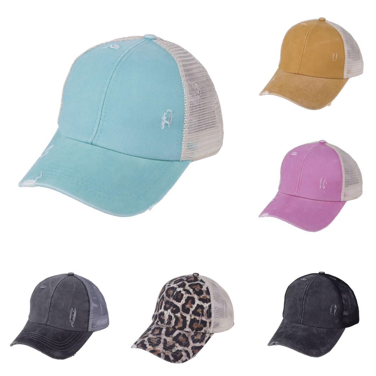 Женщины высокий хвост бейсбол промытый шляпа хлопчатобумажный регулируемый удар шляпа тчика Criss Cross Toy Buns Caps DDA6
