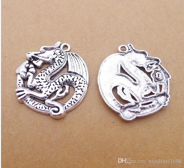 PP4003 33 * 30mm lega Hollow Longgu gioielli in argento Fifty Retro / confezione 4.2g