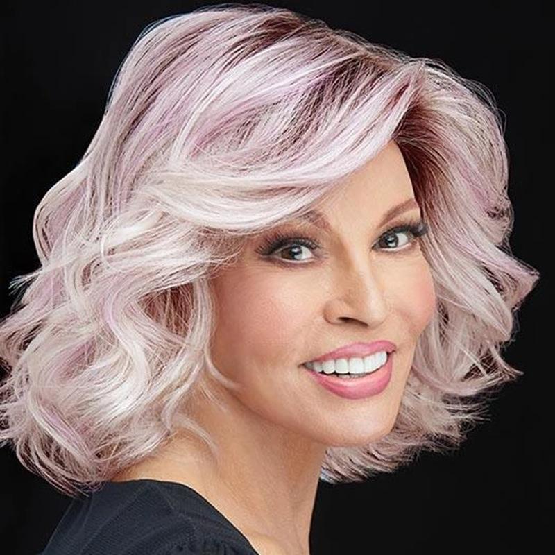 Европейская и американская блондинка женская мода среднего возраста парик окрашивание градиент короткие вьющиеся волосы пушистые длинные волосы мать голова химическое волокно волос