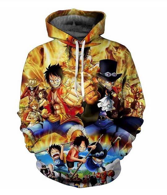 Neuer heißer Verkaufs-Set Anime One Piece Luffy Hoodies Mens Hoodies gedruckt Male Hoodie 3D-Druck Hoodys RR0226