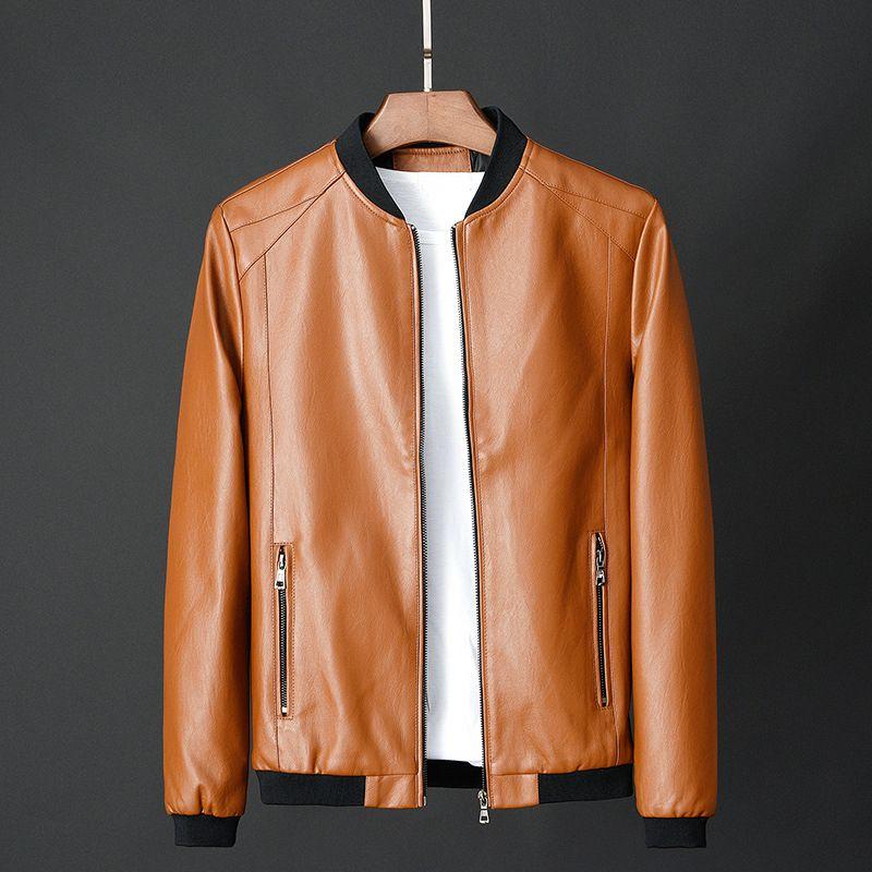 Arancione rivestimento degli uomini PU ciclismo in pelle Leather Jacket Uomo Slim Fit Faux Maschio stand colletto a maniche lunghe casuale Boy Coat Oversize