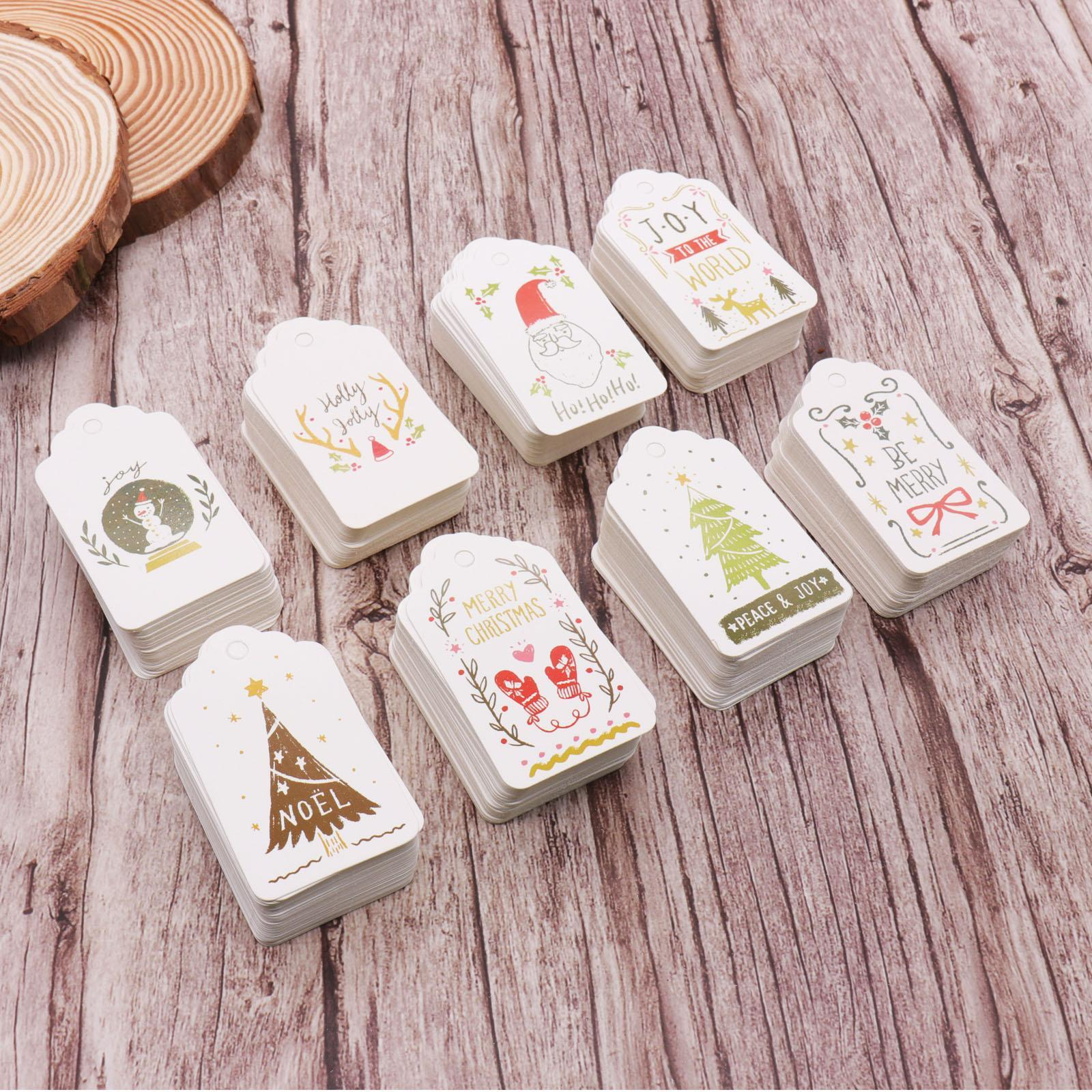 50pcs/lot Merry Christmas DIY Unique Gift Tags JOY TO WORLD Tag Small Card Optional String DIY Craft Label Party Decor