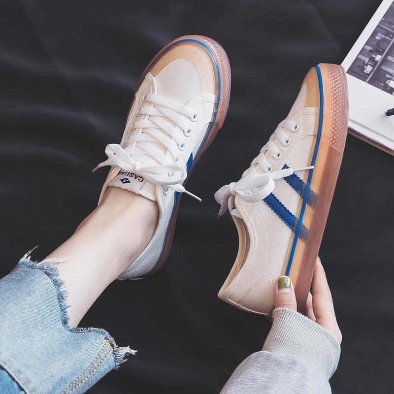 2020 Yeni Tuval Ayakkabı Ins Sokak clappers Ayakkabı Sonbahar Beyaz Joker Sonbahar Tide büyüklüğü 36-45 arasında Kız Öğrenci Kore Sürüm