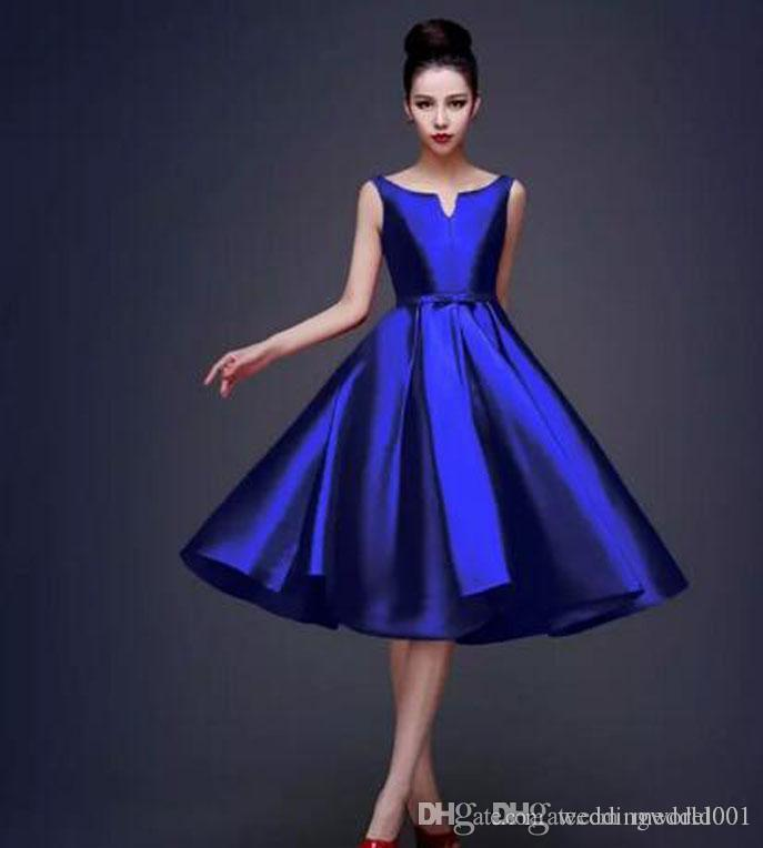 2019 High Quality Simple Royal Blue Black Red Cocktail Dresses Lace up Tea Length Formal Party Dresses Plus Size Custom Made