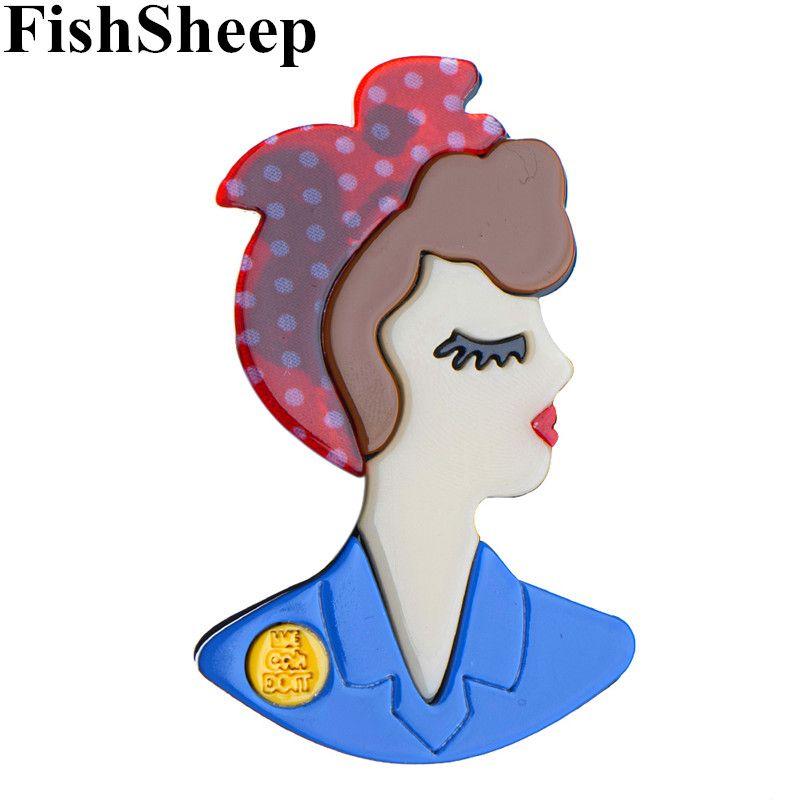 FishSheep New Design acrílico broche menina Para Mulheres Meninas Acessórios de Moda lindo broche de lapela pinos Badges Handmade DIY presentes