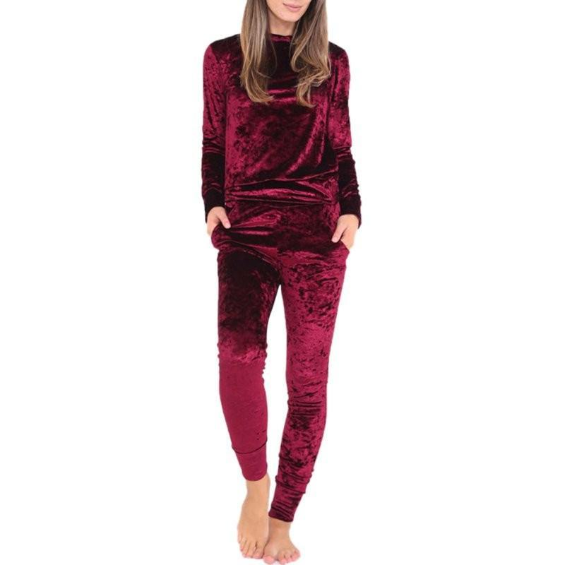 Spring Fitness Clothes Women Tracksuits Clothes Set Velvet Long Sleeve Top Pullovers Pants Ladies Black S-XL