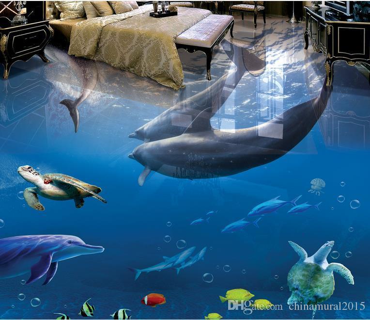 Custom Photo Floor Wallpaper Hermosa playa romántica ola Seascap Cuarto de estar Cuarto de baño Azulejos 3D Mural PVC Auto-adhesivo Wallpaper Roll