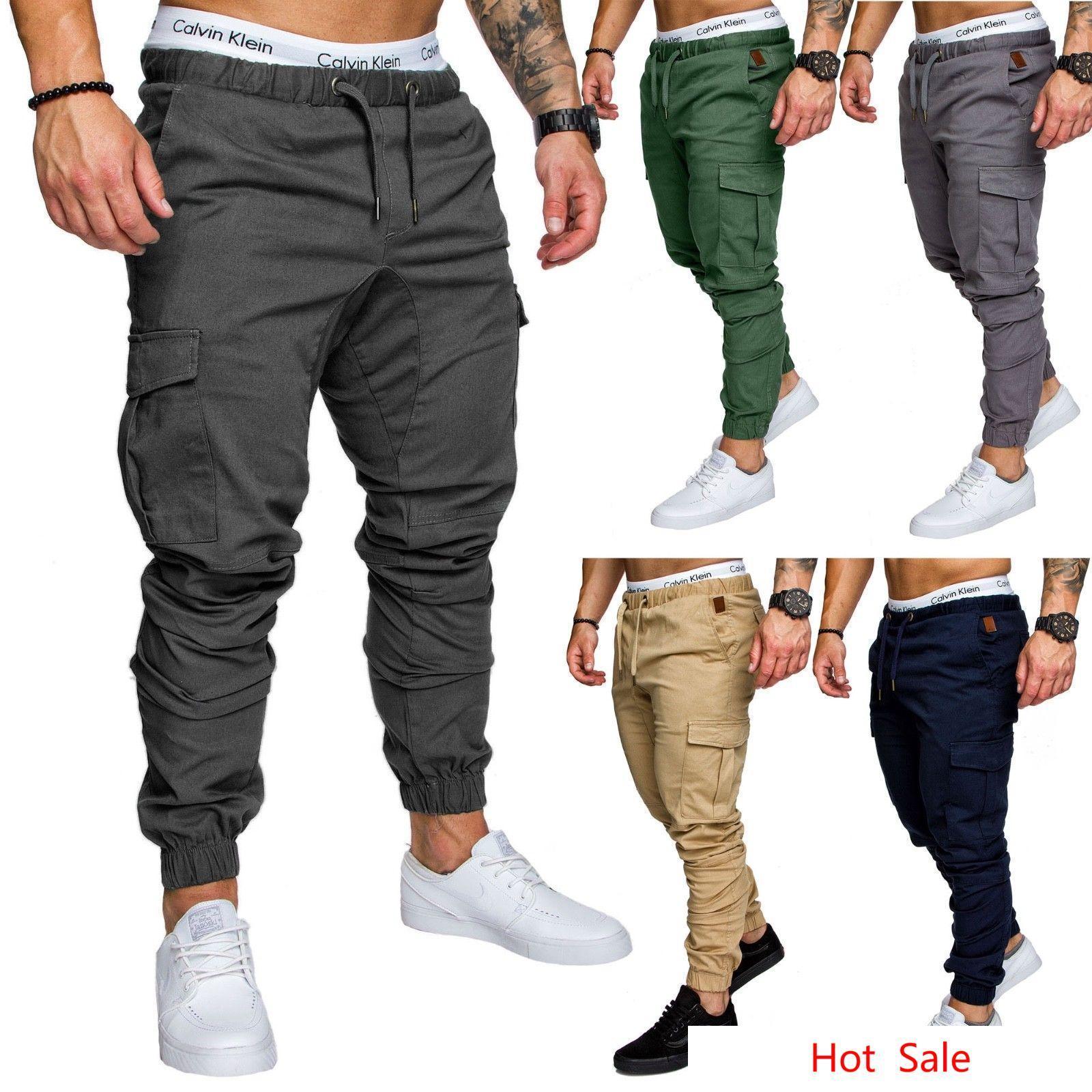 Homens Harem Pant Solto Fit Calças de Algodão Elástico Na Cintura Calças Compridas Basculador Calças Sweatpants Skinny Lápis Calças M-4XL
