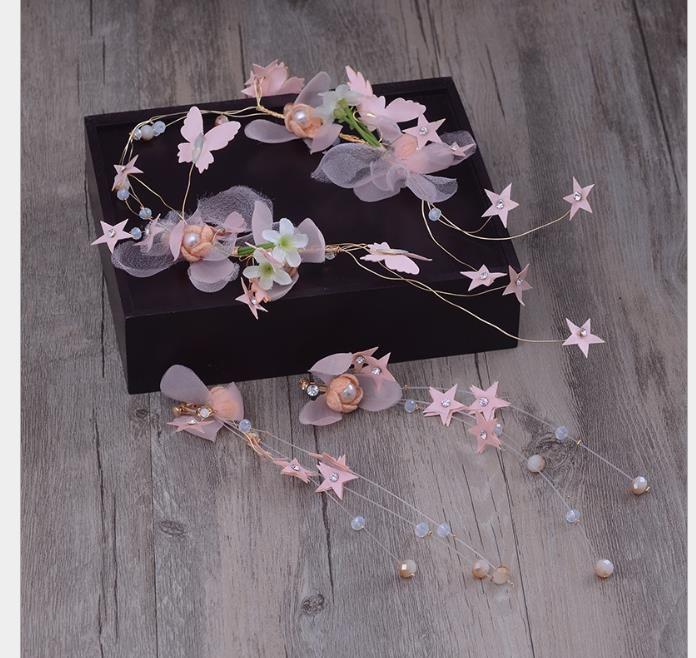 Accesorios para el anillo Hecho a mano Mariposa Corbata de flores Florería Novia Joyería Anillo Banda para el cabello