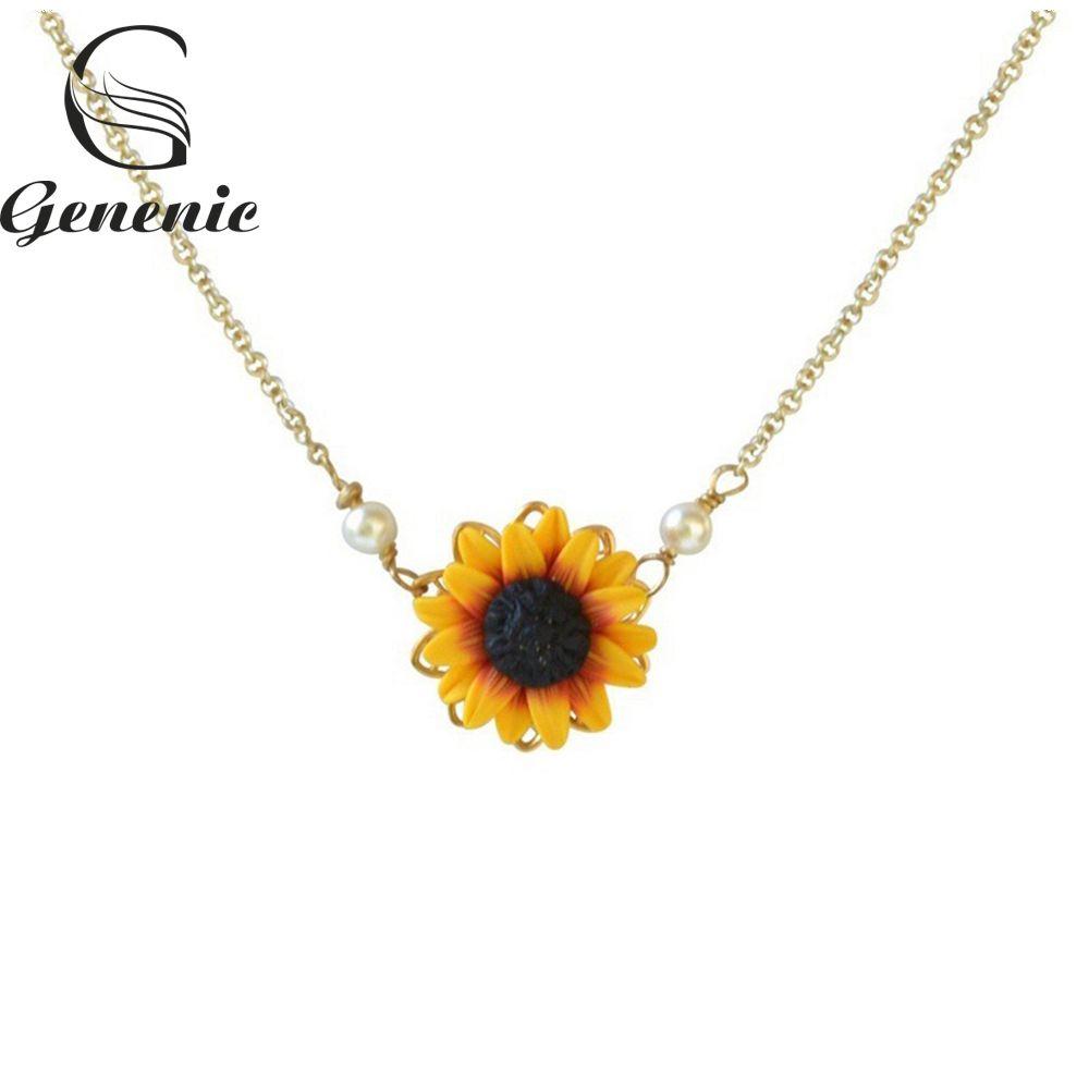 1 stück Romantische Tropfen Halsketten Charme Sonnenblume Anhänger Kette Halskette für Frauen Einfache Perlen Prinzessin Braut Brautjungfer