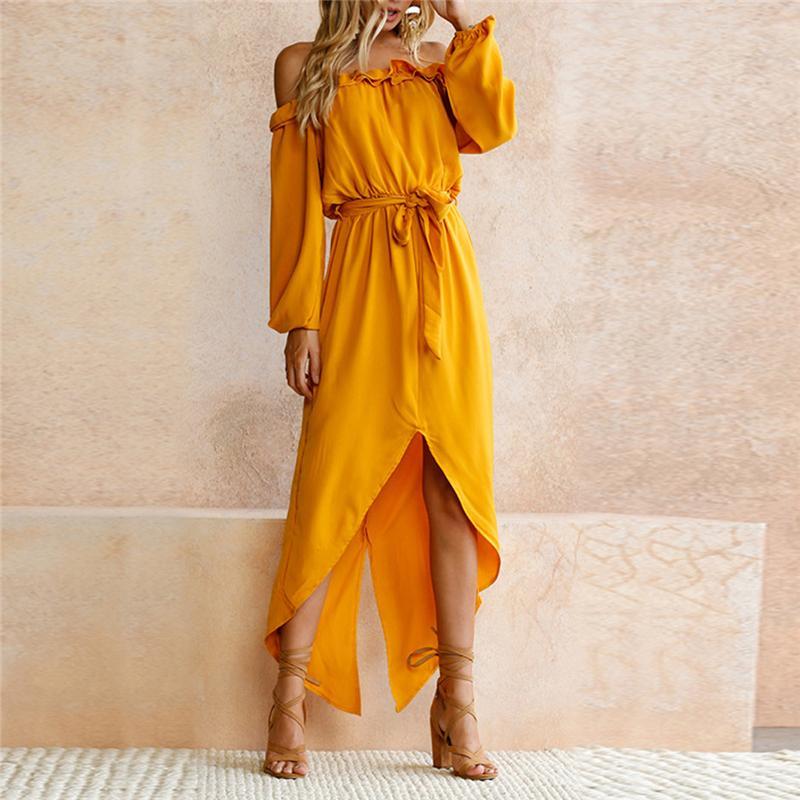 Wholesale-Summer Maxi Dress Women Long Sleeve Slash Neck Sexy Party dress 2017 Long Sleeve Dresses Casual Sundress Boho Solid Vestidos