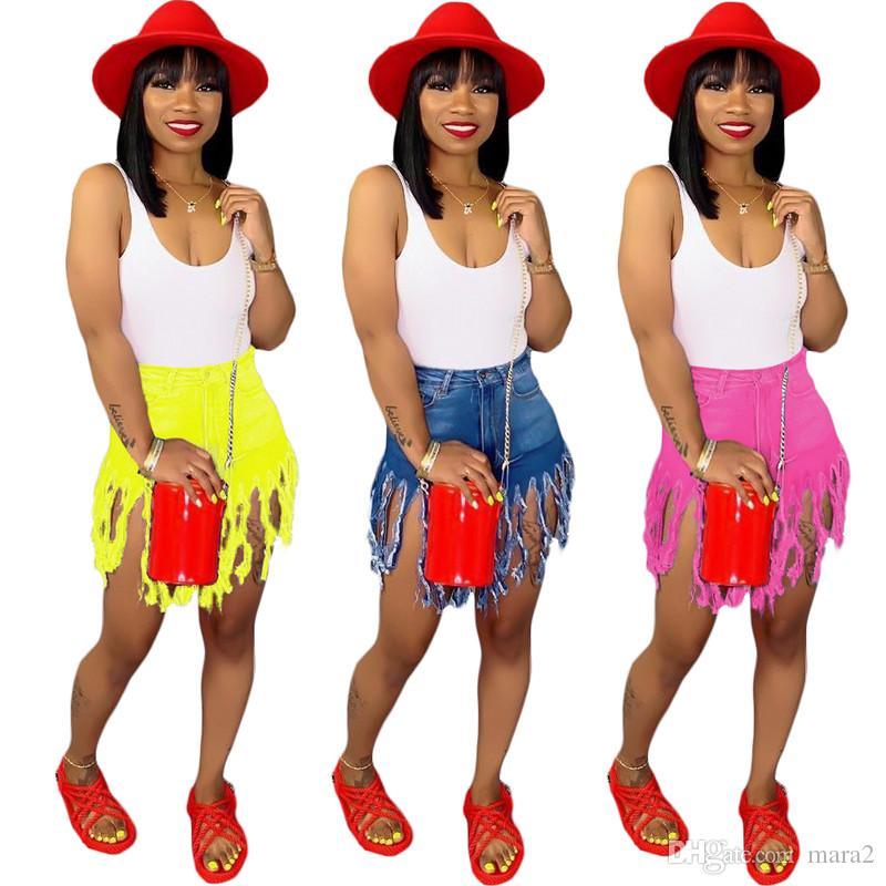tozluklar Fermuar Fly Denim katı Midweight yaz giyim artı boyutu 327 BODYCON Yeni stil Kadın Jeans moda Püskül Cep Düğme şort