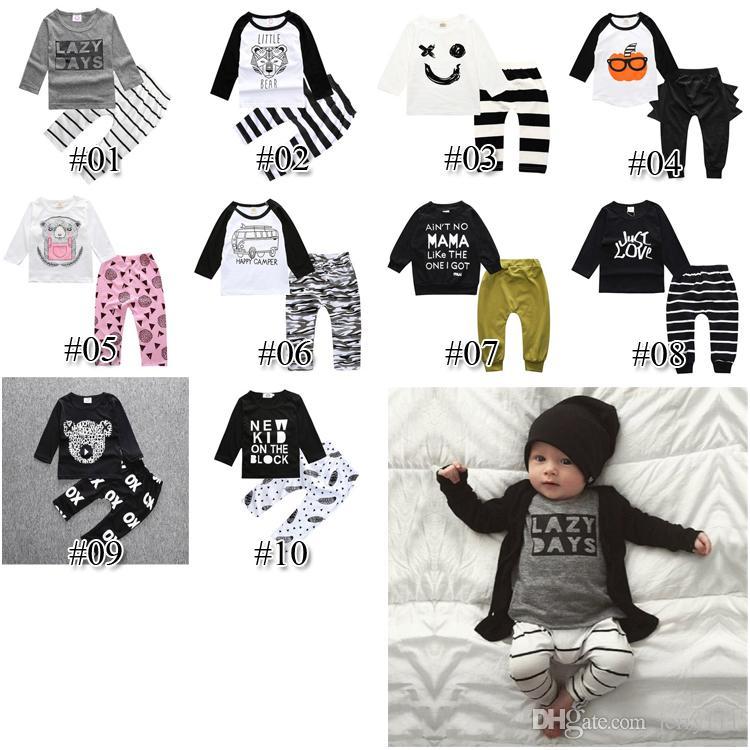Roupas crianças 10 Styles Meninos Vestuário Define Top T-shirt + calças crianças criança infantil Casual manga comprida Suits Baby Boy roupas FJ95