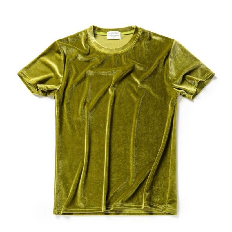 Erkekler yaz 10 renk kadife t gömlek gece kulübü şarkıcısı sahne kostüm streetwear erkek gündelik kadife tişörtlerin hip hop kıyafetleri