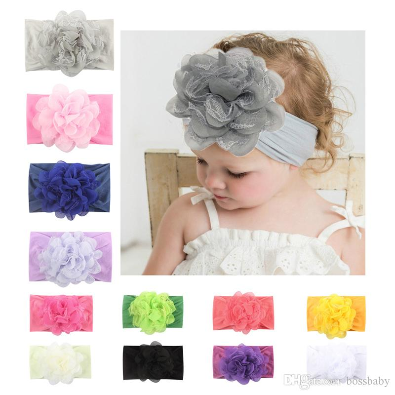 Kids Girls Princess Headband Baby Lace Floral Hair Bands Infant Solid Chiffon Nylon Flowers Headwear Toddler Hair Accessories 06