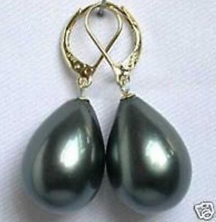 Lindo casamento das mulheres jóias frete grátis fantasia prata preto 14 mm shell pérola brinco 925 prata dangle