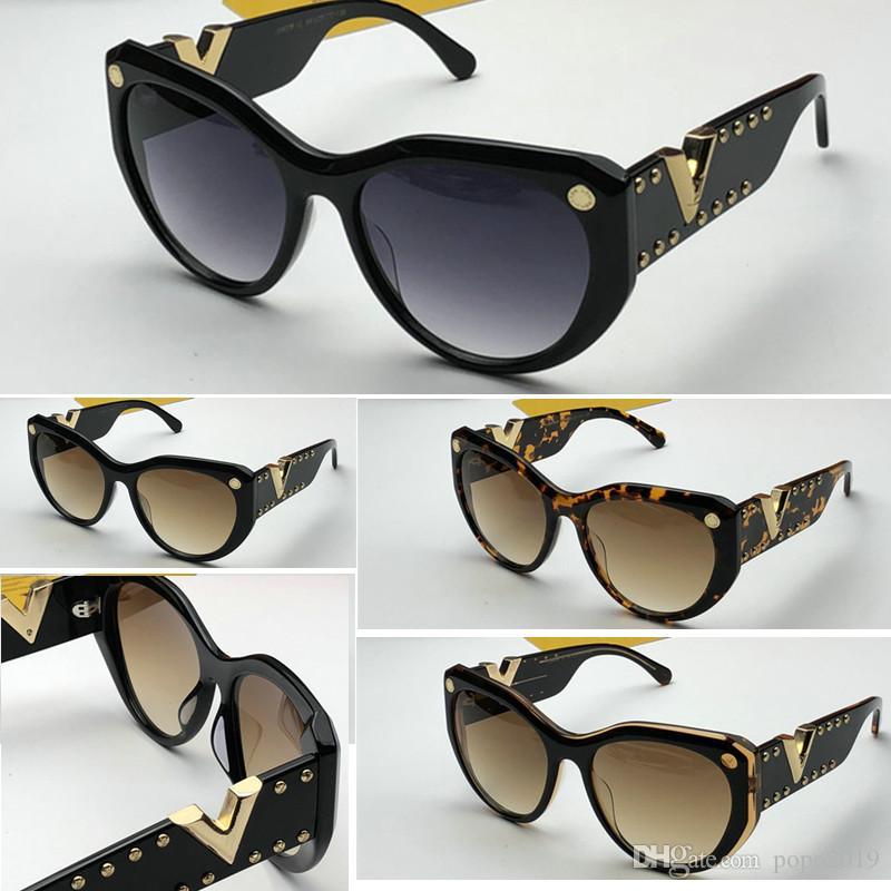 مصمم النظارات الشمسية أدلة القط العين الرجعية خمر نساء مصمم Z0903E ذهبية لامعة إطار شعار ليزر الرجال أعلى جودة مع الحزمة الأصلية