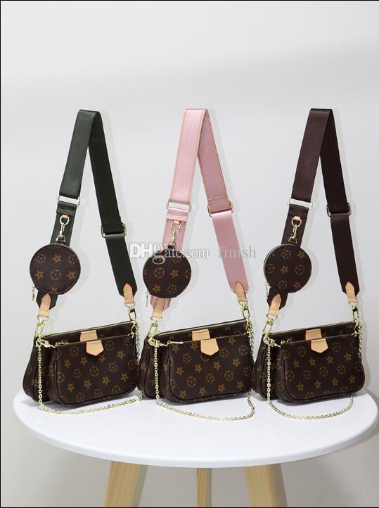 Top quality 3pcs set designers bags women crossbody bag Genuine Leather luxury handbags purses lady tote bags Coin Purse three item Brown