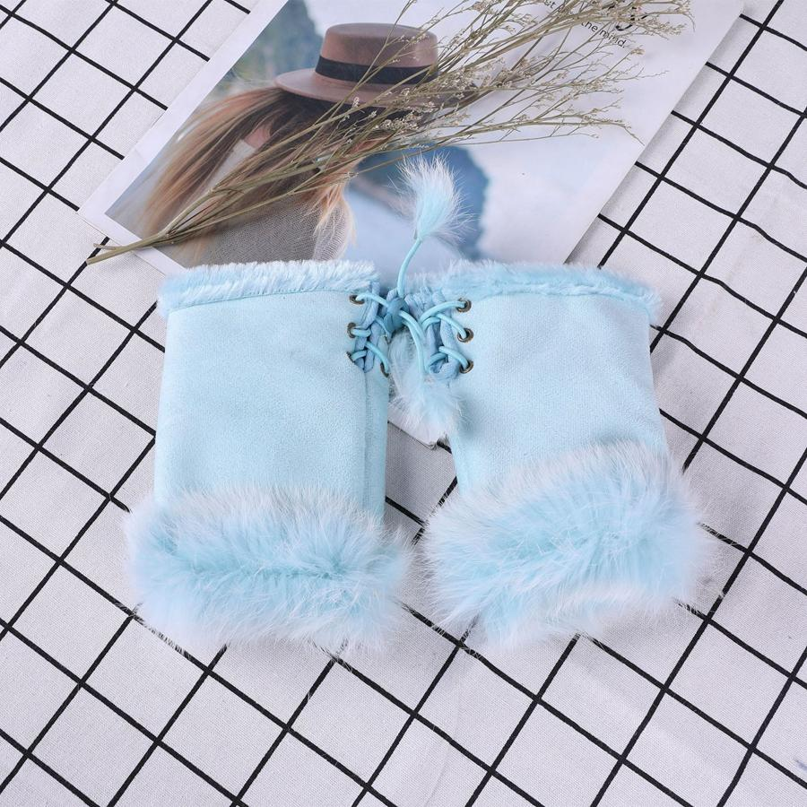 Faux delle donne della pelliccia del coniglio guanti Ragazza invernali senza dita polso della mano guanto delle metà-barrette Festa di Natale regalo TTA2128-1