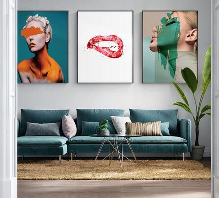 Fashion Grils Pictures for Living Room Charming Red Lips Nodic Style art wall decoration hot sale popular poster 6