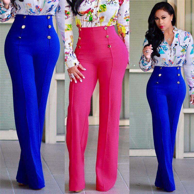 Pantalones de color sólido mujeres del diseñador atractivo delgado ocasional del botón de cintura alta Pantalones acampanados pantalones para mujer Moda