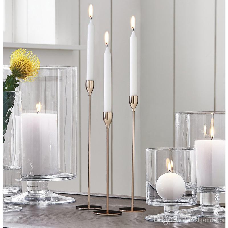 Envío libre Cosas románticas Candeleros de metal, Ornamento de la vela, Candelabro, Fiesta de bodas de Navidad Decoración del hogar