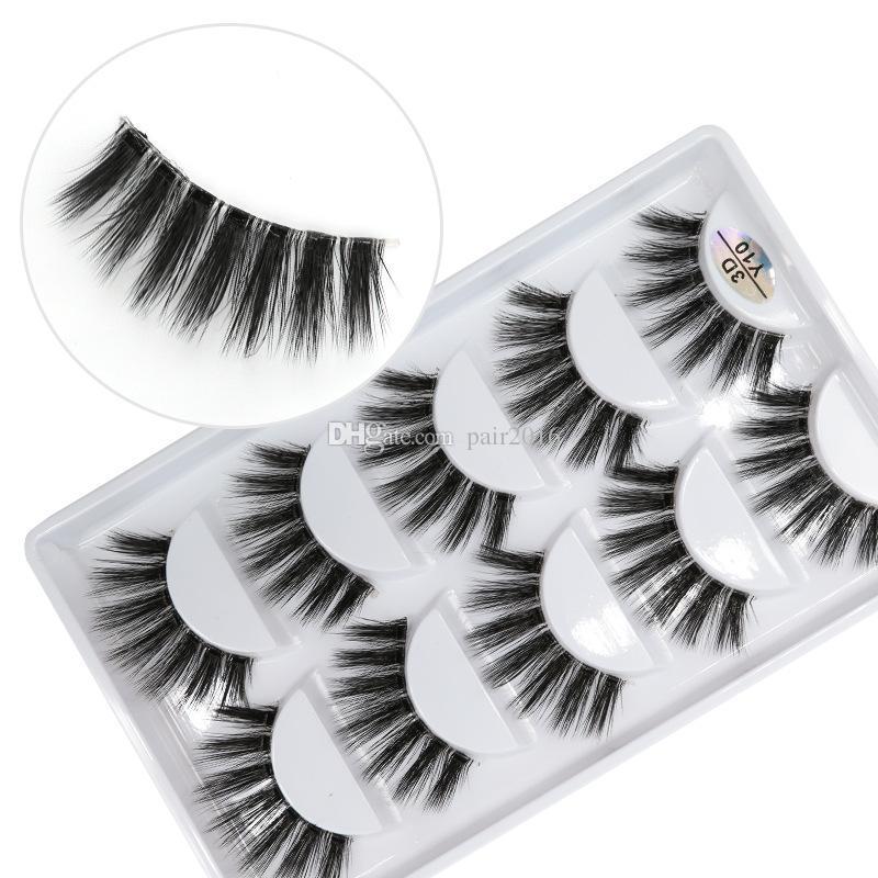3D-Y10 5pairs/set Y series transparent terrier False EyeLashes 5 Pairs 3D Natural soft silk Eyelashes Handmade eyelashes.