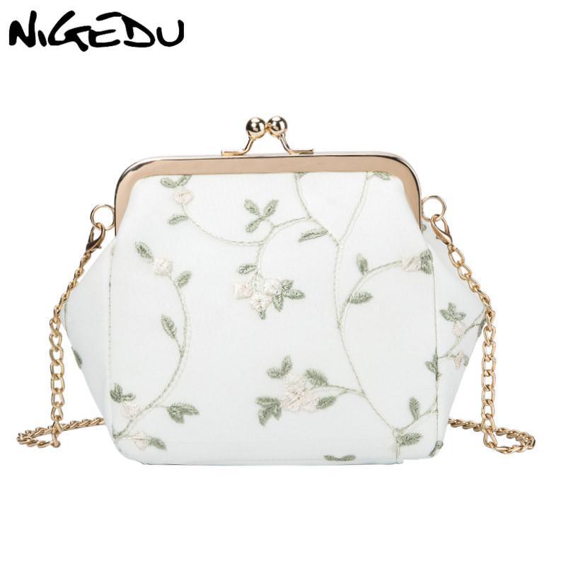 Mulheres Crossbody Saco pequeno Lace sacos flor clipe mensageiro para feminino Beijo Bloquear carteira Kawaii bonito saco Lady Cadeia Sling branco