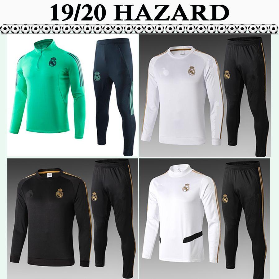 19 20 HAZARD Tuta da allenamento calcio maglie del Real Madrid SERGIIO RAMOS Kroos Mens Tuta Football Kit Camicie BENZEMA MARCELO ISCO Pants