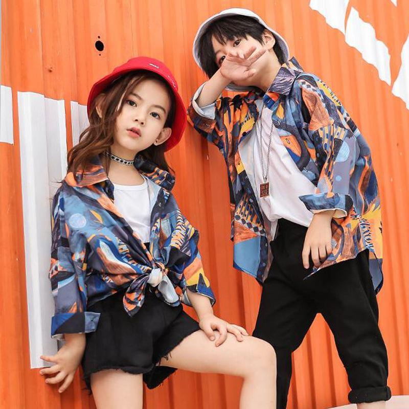 Stage Wear Kids Hip Hop Printing Clothing For Girls Boys Sweatshirt Jogger Pants Jazz Dance Costumes Set Ballroom Dancing Clothes Outfits