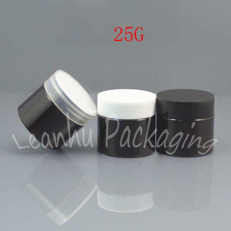 Latas 25G Brown creme com preto / branco / tampa transparente, Máscara 25CC / Creme Packaging Jar, Vazio Cosmetic Container