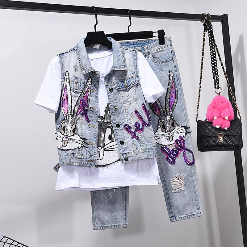 2019 Spring New Hole Ripped Jeans Two Piece Sets Women's Denim Vest Coat + Denim Pants Girls Students Jeans Suit