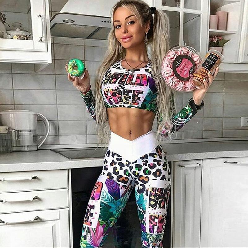 Активных женщин леопарда тренажерный зал, йога, костюм с высокой талией печать письма фитнес упражнения клоун Беговая женщин Топ+леггинсы женщины сексуальный 2 шт MX200329