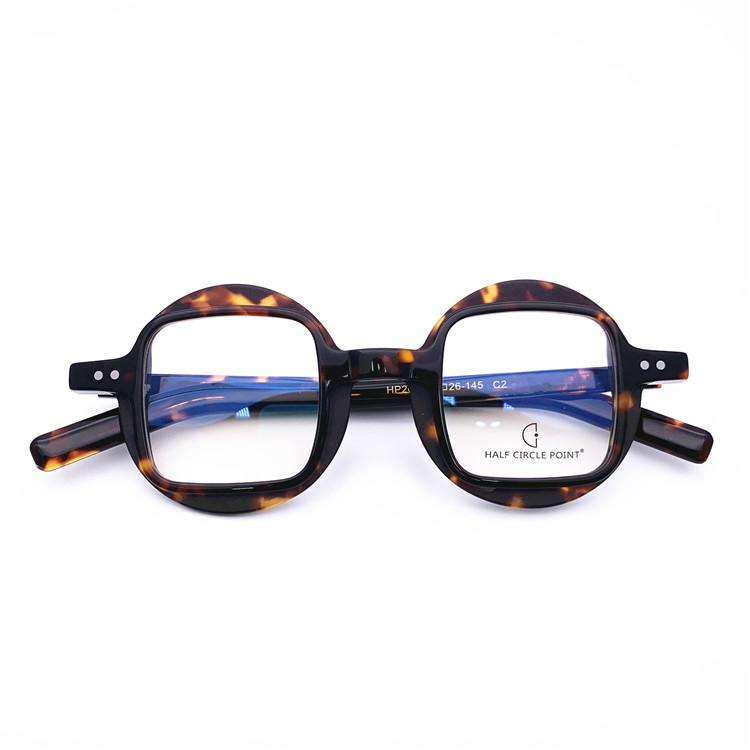 BeLight ottico Fancy Retro Acetato irregolare forma rotonda con disegno del quadrato montatura HP205 lente ricetta acquistare