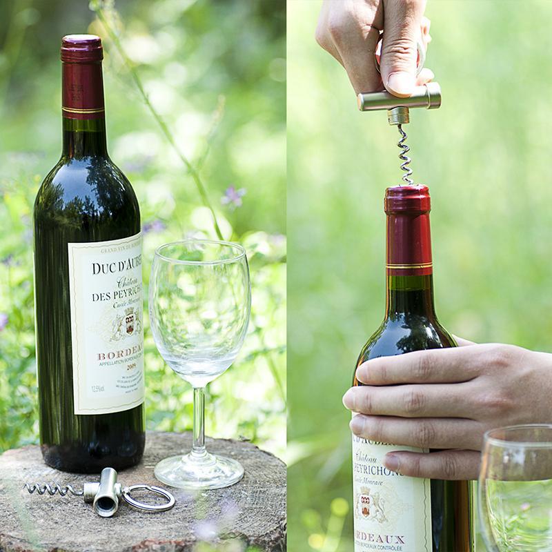 Portable Zinc Alloy 3 In 1 Bottle Opener Keychain Outdoor Multifunctional Mini Wine Beer Can Opener Wood Corkscrew Kitchen Tools