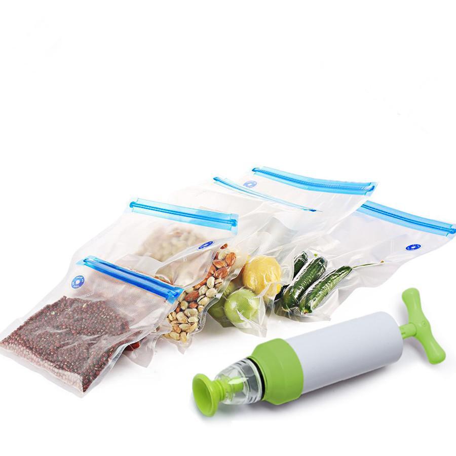 Gıda Saklama ile Pompası Yeniden kullanılabilir For Food Ev Aletleri Sealer Vakumlu torbalar (5pcs çanta İçeren) Mutfak Organizer Paketleri Vakum pompası