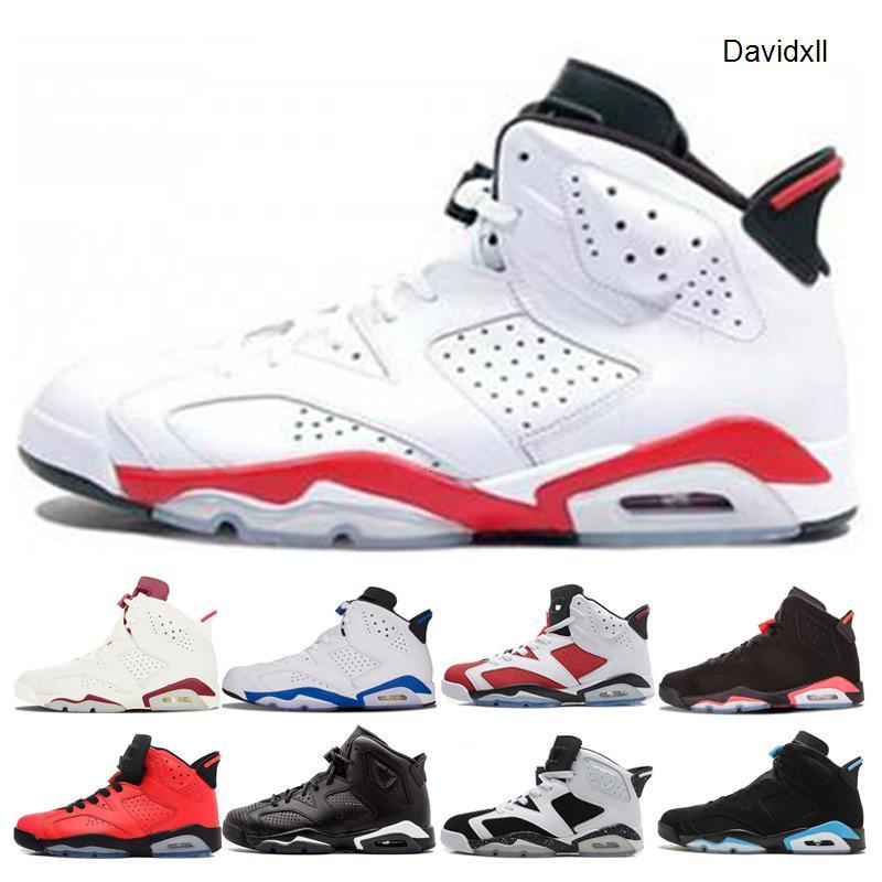 Hommes Chaussures de basket-6 6s Blanc Infared Oreo Formateurs Sneaker UNC olympique noir infrarouge chat noir bleu hommes de sport Chaussures de sport Taille 7-13