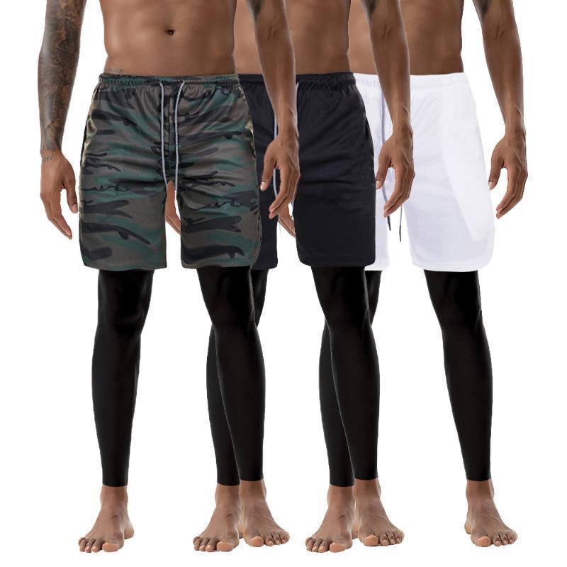 Hombres 2 en 1 Joggers cortos seguridad del teléfono Bolsillos 2020 pantalones del resorte de alta calidad de secado rápido bolsillo incorporado aptitud Bottoms 3XL