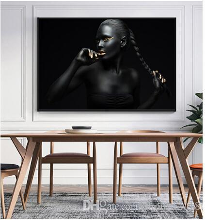Mujer con labios dorados Impresiones de posters Foto de estilo nórdico Chica Retrato Arte de la pared Imágenes Decoración para el hogar Pintura de la lona