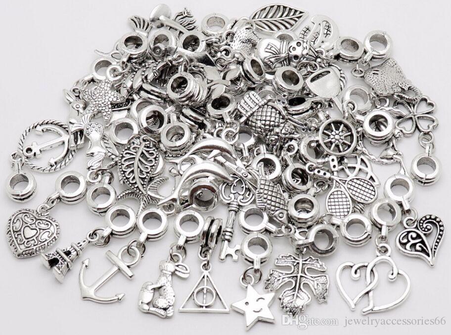 100шт / серия Vintage Big Hole Loose бусы Европейский Подвеска подходит Пандор очаровывает браслет DIY металл делать ювелирные изделия