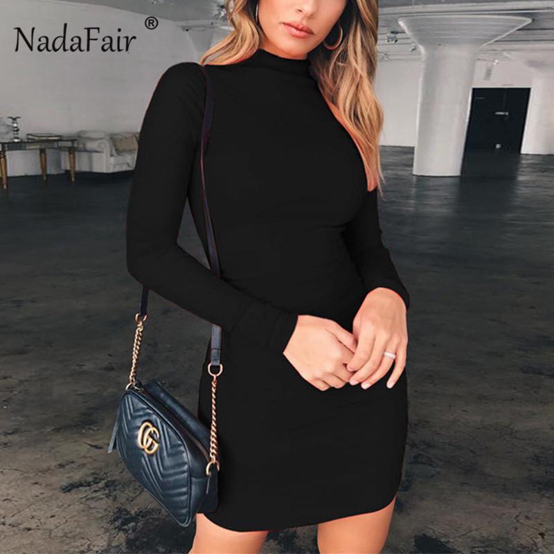 Nadafair с длинным рукавом Мини платье Женщины Основная осень весна водолазка Bodycon платье Белый Черный Красный Y200102