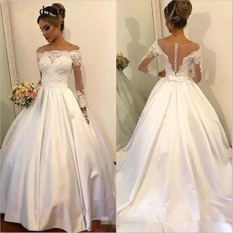 Elegante Off the Buttons illusione cerimonia nuziale della spalla maniche lunghe abiti d'epoca sweep treno coperto Torna abito da sposa in abito da sposa