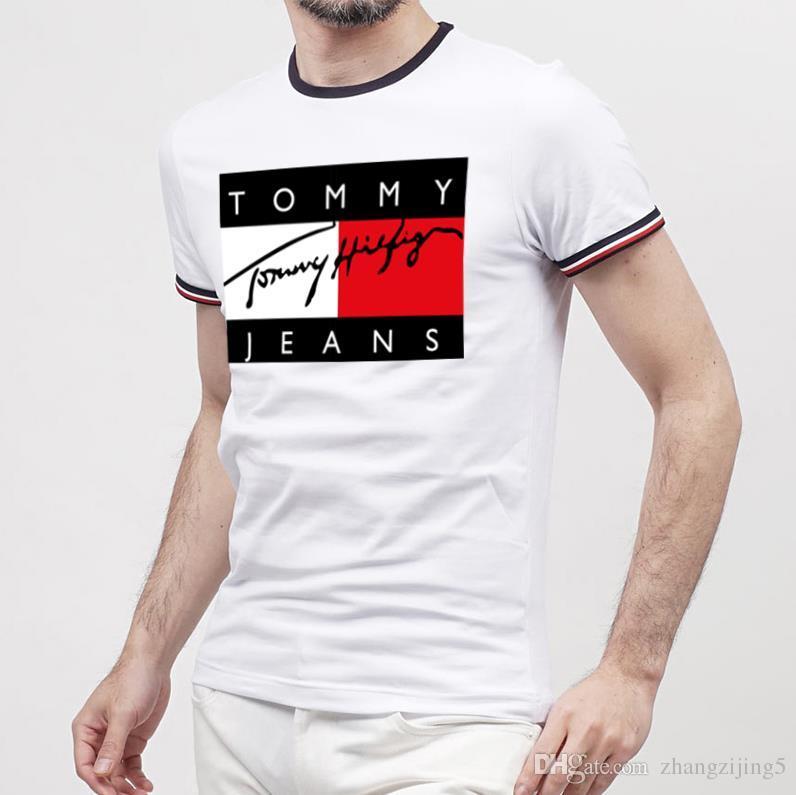 Diseñador para hombre de alta calidad Camisetas Moda Ropa para hombre 2019 Verano Casual Streetwear Camiseta Remache Mezcla de algodón Cuello redondo Manga corta