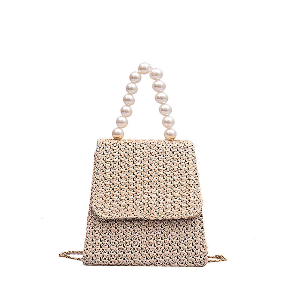 New Mulheres Verão Shoulder Bag Feito à Mão Exquisiteness Pérola de palha sacos de tecido Flap doce Pastoral Rattan Meninas Bag