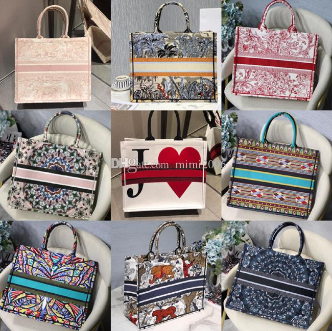 Fashion high quality embroidery Classic Colorful flowers Designer handbags multi color famous brand Pattern Stitching fashion shopping bags
