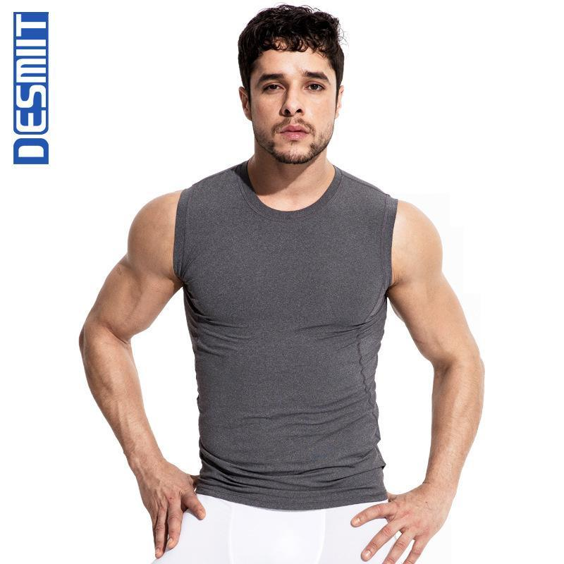 Desmiit athlète courir gilets hommes gymnase réservoir sport de haut niveau rapidement l'entraînement physique de l'homme du cou O sec sweat-shirt sleeverless undershirt