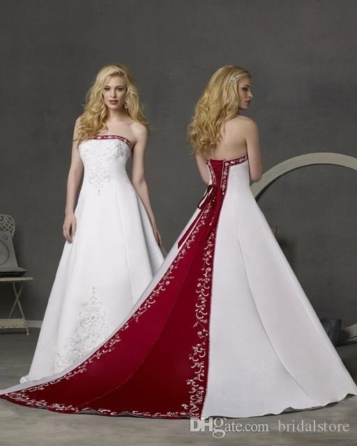 Abiti da sposa rosso e bianco senza spalline Abiti da sposa country con perline ricamate Impero Cattedrale Tail Cheap A Line Abito da sposa modesto