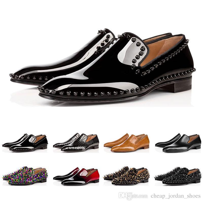 red bottoms shoes Avec la boîte designer de mode des chaussures pour hommes mocassins spike noir rouge en cuir verni Slip On Dress mariage flats bas chaussures pour Business